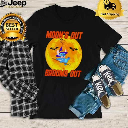Stitch Halloween moons out brooms out shirt