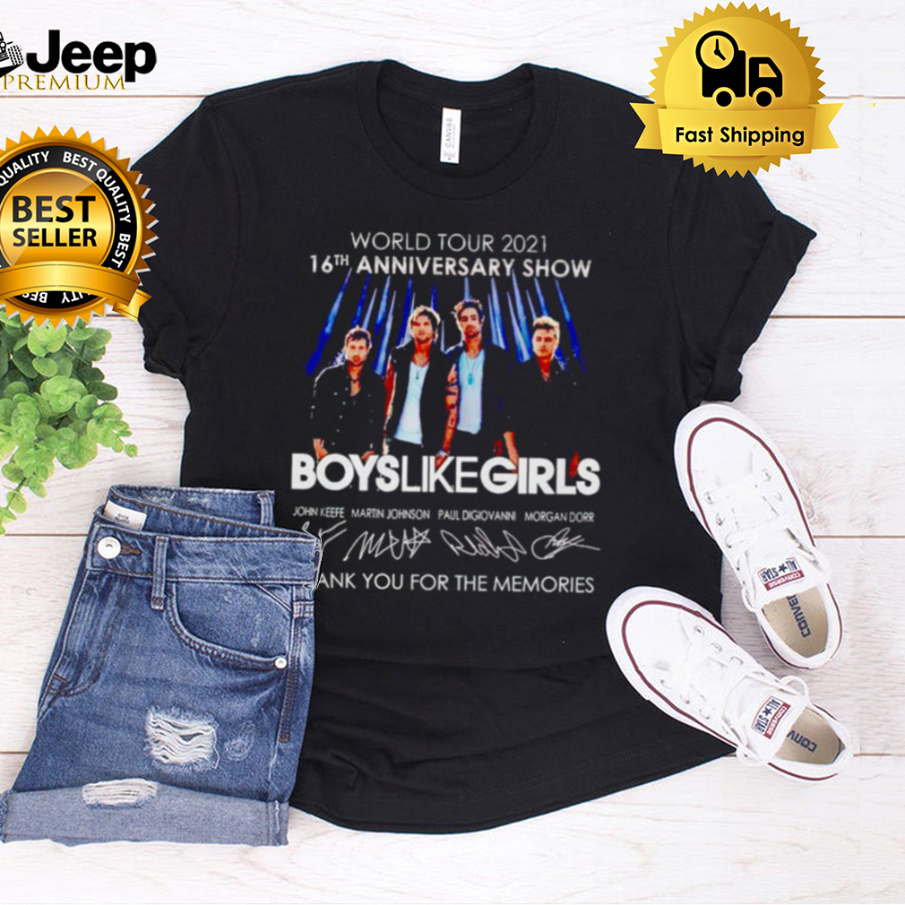 16th Anniversary show Boys Like Girls thank you for the memories shirt