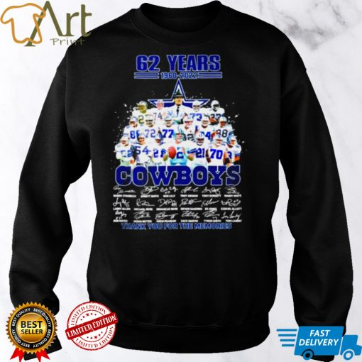 62 years 1960 2022 Dallas Cowboys thank you for the memories signatures shirt